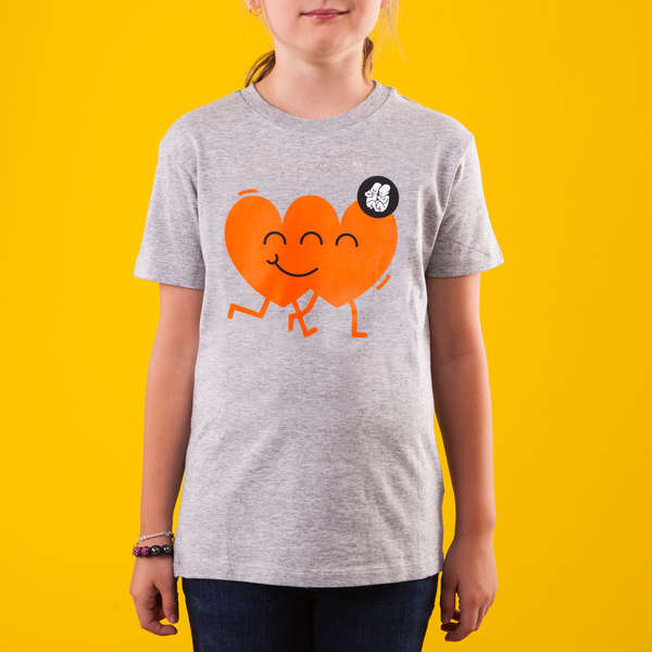 Grey Kids T-Shirt_Red Heart