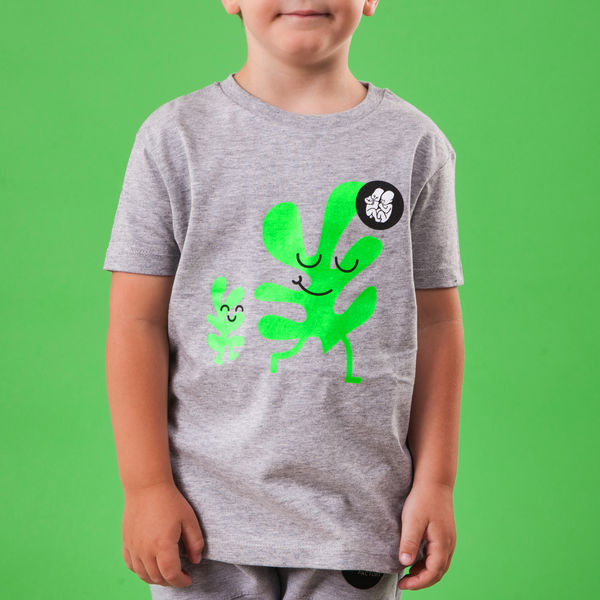 Grey Kids T-Shirt_Green Leaf