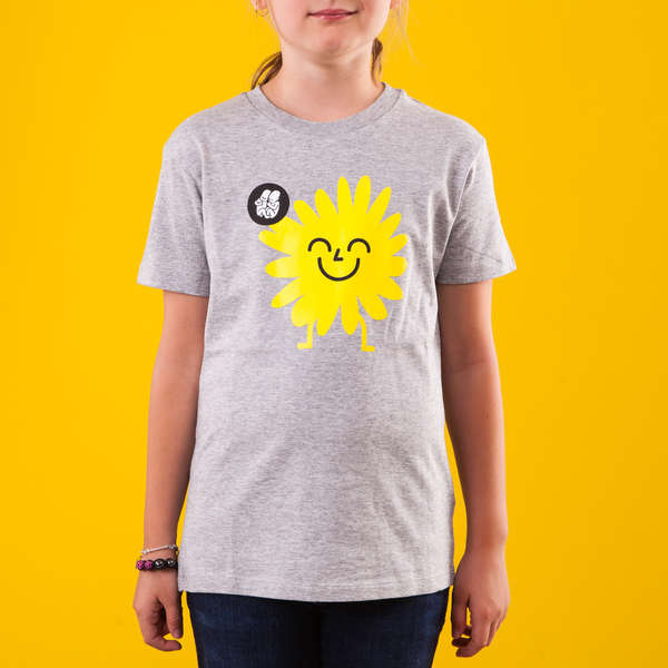 Grey Kids T-Shirt_Yellow Sunflower