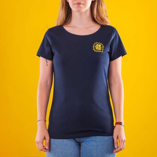Female Dark Blue T-Shirt with an Embroidered Sunflower